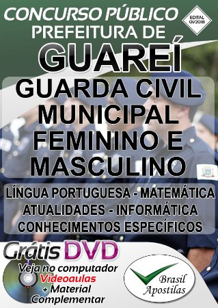 Guareí - SP - 2018 - Apostila Para Guarda Municipal