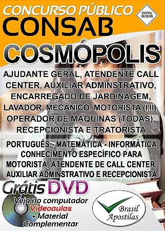 Cosmópolis CONSAB - SP - 2018 - Apostila Para Nível Fundamental
