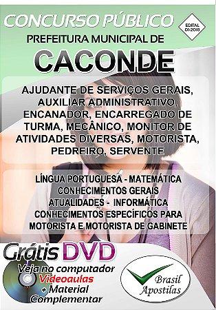 Caconde - SP - 2018 - Apostilas Para Nível Fundamental, Médio, Técnico e Superior