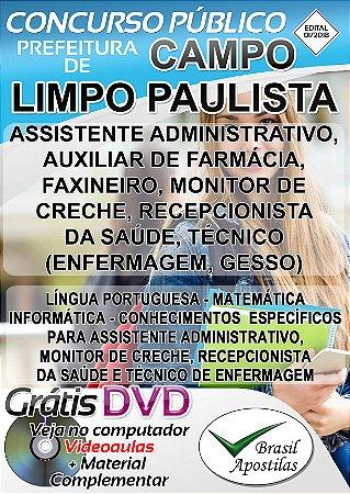 Campo Paulista Paulista - SP - 2018 - Apostilas Para Nível Médio, Técnico e Superior