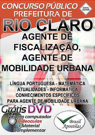 Rio Claro - SP - 2018 - Apostila Para Agente Fiscalização e Agente de Mobilidade Urbana