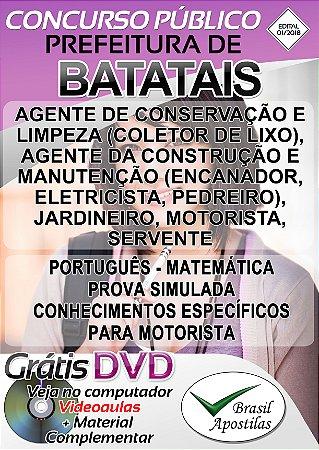 Batatais - SP - 2018 -Apostilas para Nível Fundamental, Médio, Técnico e Superior