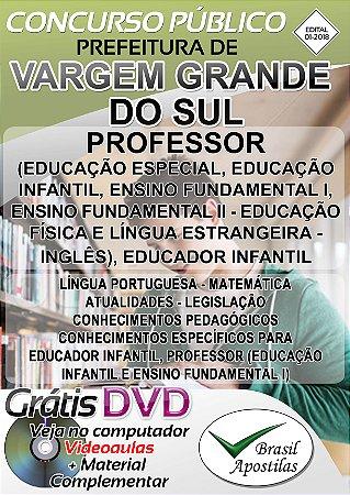 Vargem Grande do Sul - SP - 2018 - Apostila Para Professor e Educador Infantil
