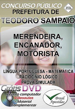 Teodoro Sampaio - SP - 2018 - Apostilas Para Nível Fundamental, Médio, Técnico e Superior