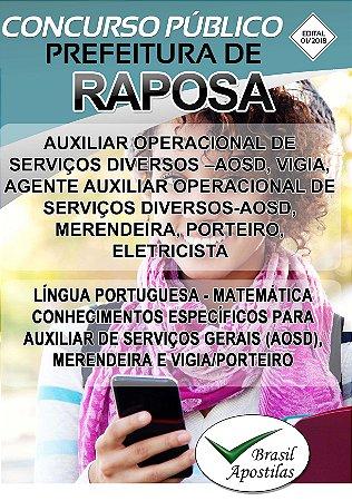 Raposa - MA - 2018 - Apostilas Para Nível Fundamental, Médio e Superior - VERSÃO DIGITAL