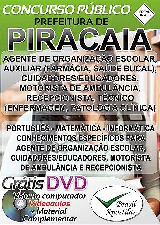 Piracaia - SP - 2018/2019 - Apostilas Para Nível Médio, Técnico e Superior