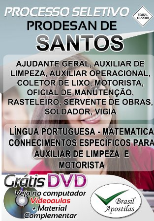Santos - SP - PRODESAN - 2018/2019 - Apostilas Para Nível Fundamental, Médio e Técnico
