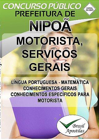 Nipoã - SP - 2019 - Apostilas Para Nível e Médio - VERSÃO DIGITAL