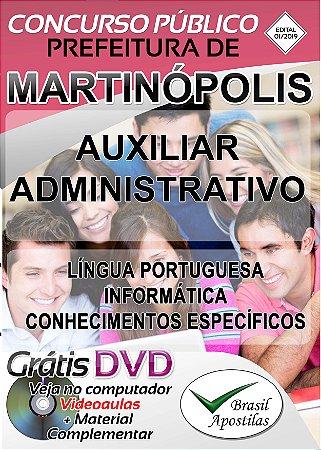 Martinópolis - SP - 2019 - Apostila Para Auxiliar Administrativo