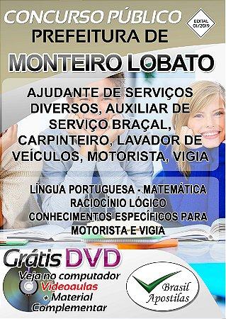 Monteiro Lobato - SP - 2019 - Apostilas Para Nível Fundamental, Médio, Técnico e Superior