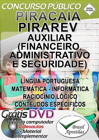 Piracaia - SP - PIRAPREV - 2019 - Apostila Auxiliar Financeiro, Administrativo e Seguridade