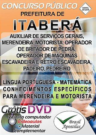 Itaberá - SP - 2019 - Apostilas Para Nível Fundamental, Médio e Técnico