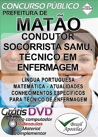 Matão - SP - 2019 - Apostila Para Condutor Socorrista SAMU , Técnico em Enfermagem (ESF, SAMU)