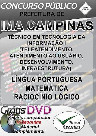 Ima Campinas - SP - 2019 - Apostila Para Técnico em Tecnologia da Informação