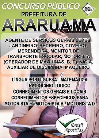 Araruama - RJ - 2019 - Apostilas Para Nível Fundamental, Médio, Técnico e Superior - VERSÃO DIGITAL