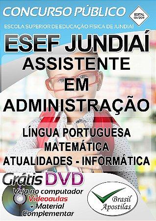 Jundiaí - SP - ESEF - 2019 - Apostila Para Assistente em Administração