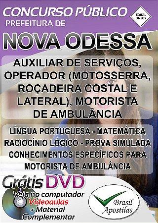 Nova Odessa  - SP - 2019 - Apostilas Para Nível Fundamental e Médio