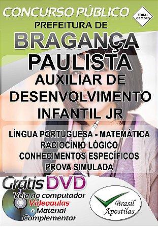 Bragança Paulista - SP - 2020 - Apostila Para Auxiliar de Desenvolvimento Infantil  JR