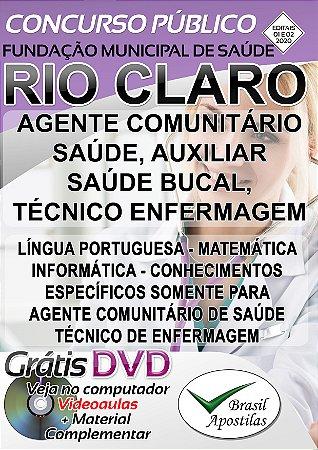 Rio Claro - SP - Fundação Municipal de Saúde - 2020 - Apostila Para Nível Médio/Técnico