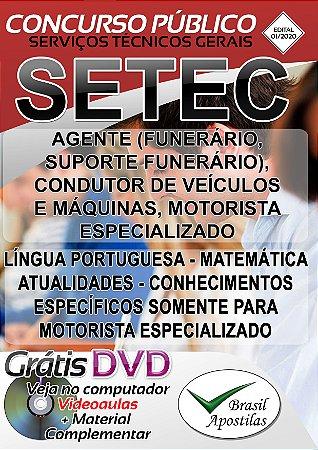 SETEC - SP - 2020 - Apostilas Para Nível Fundamental e Médio