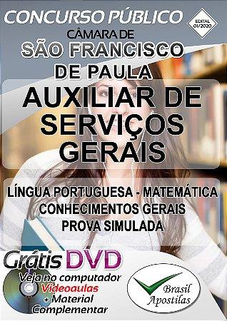 São Francisco de Paula - Câmara - MG - 2019/2020 - Apostilas Para Auxiliar de Serviços Gerais e Auxiliar Administrativo