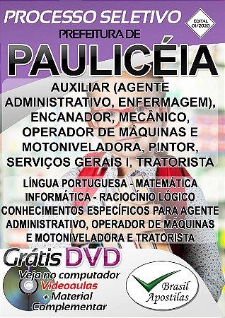 Paulicéia - SP - 2020 - Apostilas Para o Nível Fundamental, Médio e Superior