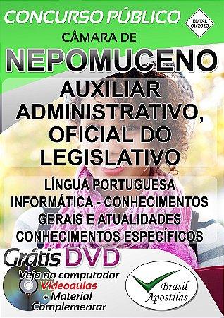 Nepomuceno - Câmara - MG - 2019/2020 - Apostila Para Auxiliar Administrativo e Oficial Do Legislativo