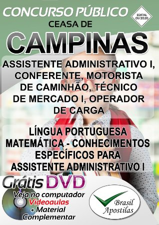Campinas - CEASA - SP - 2020 - Apostila Para Nível Médio e Técnico
