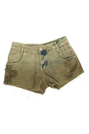 Shorts  Jeans Tie Dye Reto Spikes - cor verde terra