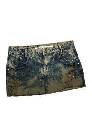 Saia Jeans Destroyed Tie Dye Spikes - cor verde degrade