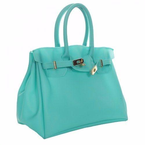 Bolsa Jane PVC Azul Turquesa - pequena