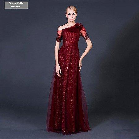 Vestido  Luxo  Pecúnia Burgund  Manga Curta  Um Ombro Império