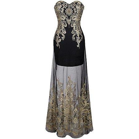 Vestido Hera Strapless  Bordado  Vintage Lace up Longo