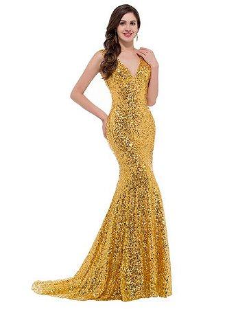 Vestido  Gaia Sereia Robe  Luxo  Decorado Com Lantejoulas  Brilhantes