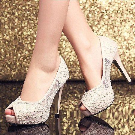 Sapato Salto  Alto Peep Toe Rendas