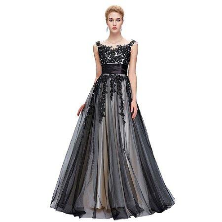 Vestido Karin Luxo Elegante Longo Preto Suave Tulle Lace Com Lantejoulas