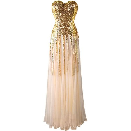 Vestido  Fantasy  Ouro lantejoulas  Paête Decote Coração