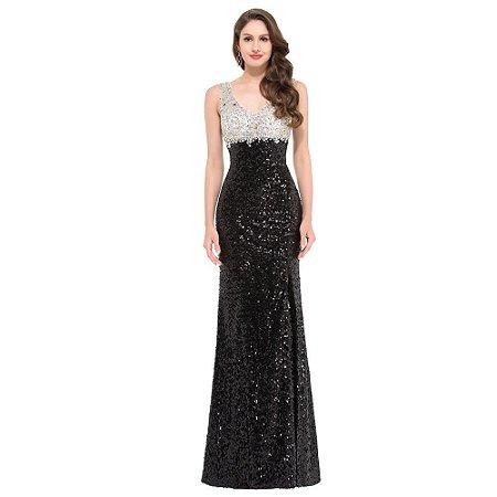 Vestido Black And White  Slit  Glitter  Longo  Luxuoso Com Lantejoulas