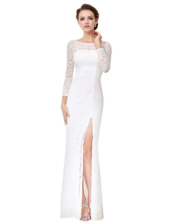 Vestido Bella Rendas Blanche Robe De Soirée