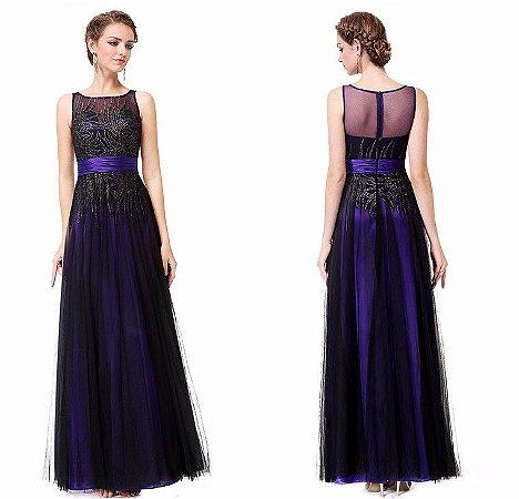 Vestido  Elegante Decote Concha  Detalhes  Renda  Cristal