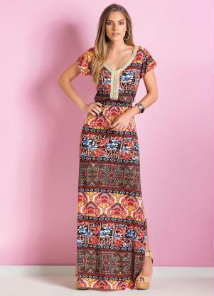 Vestido Étnico Longo Com Fenda Lateral