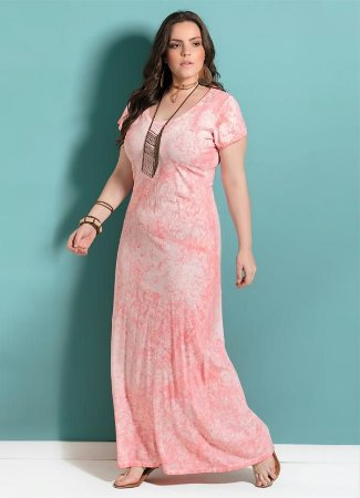 Vestido Plus Size Longo Coral Com Fenda