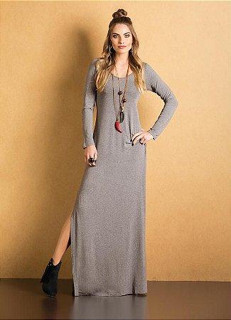 Vestido Mescla Longo Com Fenda