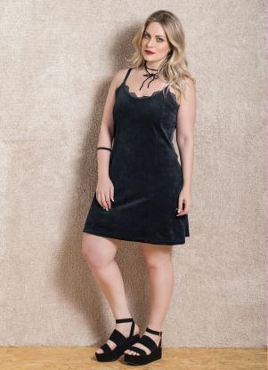 Vestido Plus Size  Nova Coleção Slip Dress  Preto