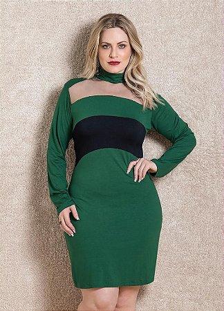 Vestido Plus Size Decote Choker Verde e Preto
