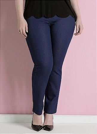 Calça Jeans Skinny Plus Size Azul Cintura Alta