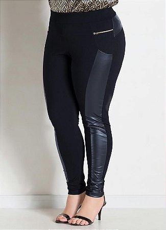 Calça Legging  Plus Size Montaria Preta
