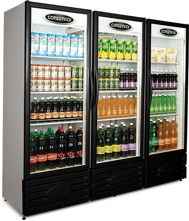 Expositor Refrigerado Vertical 3 Portas Preto ERV-1300/P Conservex