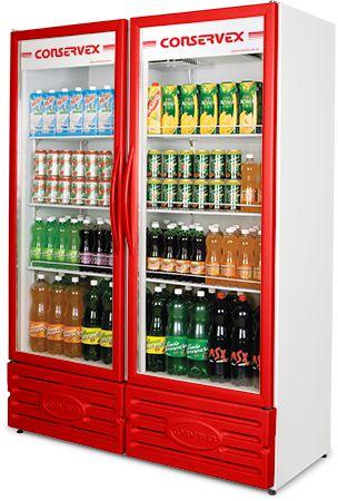 Expositor Refrigerado Vertical 2 Portas Vermelho ERV-850-V Conservex