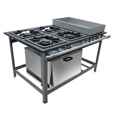 Fogão Industrial a Gás de Baixa Pressão M22 BM Forno  - Série Luxo 40X40 Metal Maq
